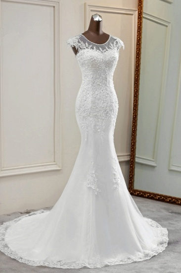 Elegant Jewel Sleeveless White Lace Mermaid Wedding Dresses with Rhinestone Appliques_4