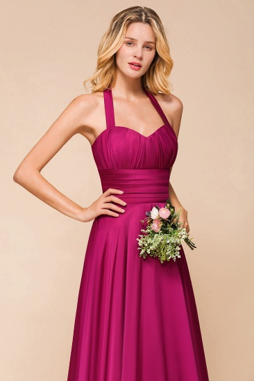 Fuchsia Halter Chiffon Bridesmaid Dresses Long Online_9