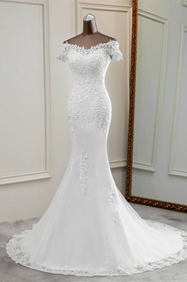 BMbridal Glamorous Sweetheart Lace Beading Wedding Dresses Short Sleeves Appliques Mermaid Bridal Gowns_4