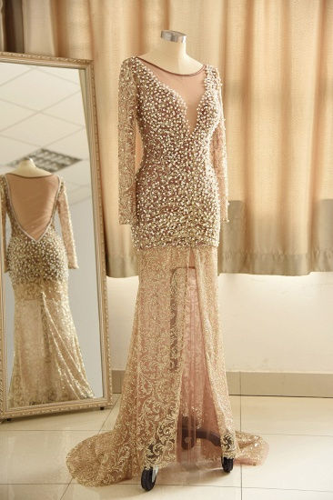 Glamorous Jewel Lace Front Slit Prom Dresses Long Sleeves Appliques Formal Dresses with Pearls_4