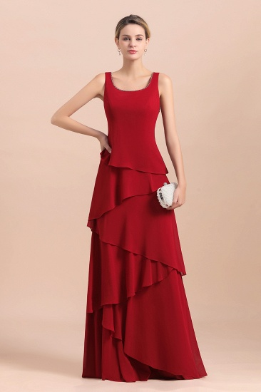 BMbridal Elegant Burgundy Chiffon Mother of the Bride Dress Ruffles With Jacket_8