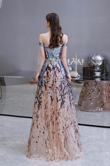 BMbridal Glamorous Off-the-Shoulder Sequins Evening Gowns Long Multi-Color Prom Dress_3