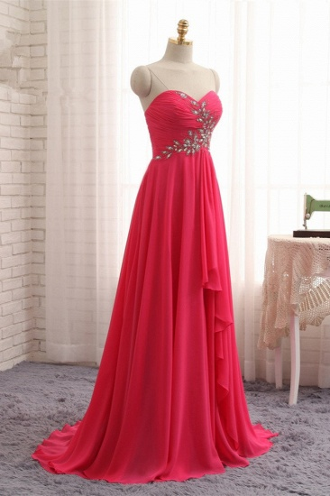 Chic Strapless Sweetheart Watermelon Prom Dresses A-Line Ruffles Crystals Evening Dresses Online_4