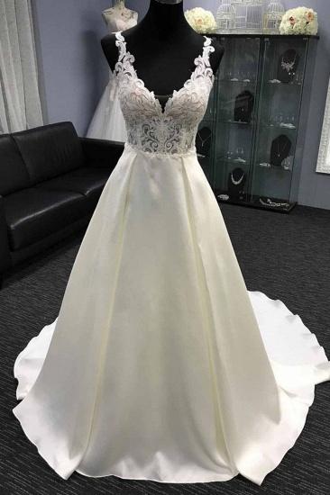 Glamorous White Satin V-Neck Wedding Dress A-Line Halter Bridal Gowns On Sale_3