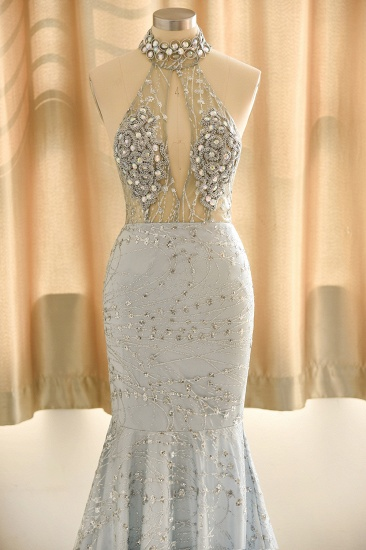 Luxurious Halter Rhinestones Prom Dress Mermaid Long Online_7