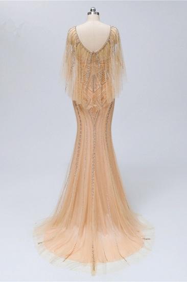 Elegant Tulle Beadings Gold Mermaid Prom Dresses Short Sleeves Rhinestones Evening Dresses Online_3