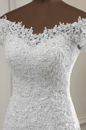 BMbridal Glamorous Sweetheart Lace Beading Wedding Dresses Short Sleeves Appliques Mermaid Bridal Gowns_7