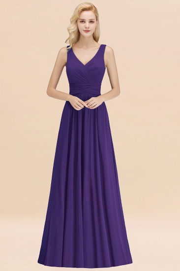 Modest Sleeveless V-Neck Long Chiffon Bridesmaid Dress Online with Ruffle_19