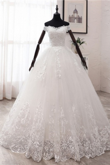 Ball Gown Off-the-Shoulder Lace Appliques Wedding Dresses White Tulle Sleeveless Bridal Gowns