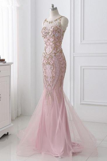 Gorgeous Jewel Pink Tulle Prom Dresses Mermaid Rhinestones Appliques Formal Dresses On Sale_4