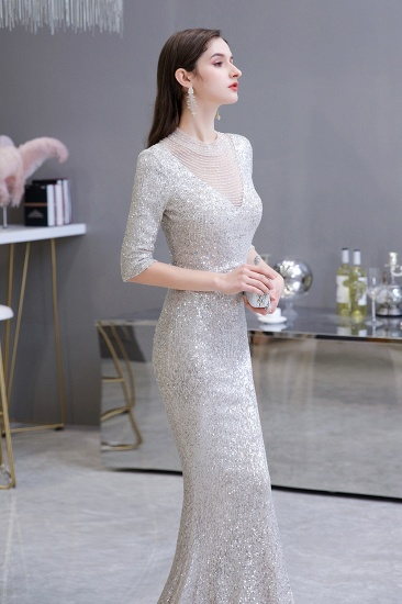 Silver Half Sleeve Sequins Prom Dress Mermaid Long Evening Gowns_7