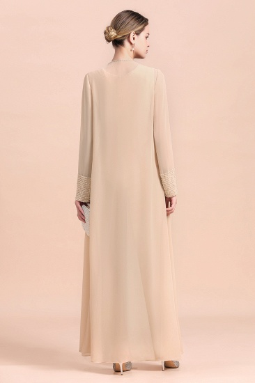 Champagne Long Chiffon Mother of the Bride Dress Two Pieces With Jacket_3