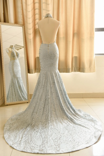 Luxurious Halter Rhinestones Prom Dress Mermaid Long Online_4