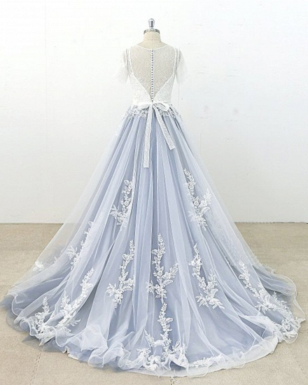 BMbridal AffordableBlue Gray Tulle Ivory Lace Wedding Dress Short Sleeve Beach Bridal Gowns On Sale_3