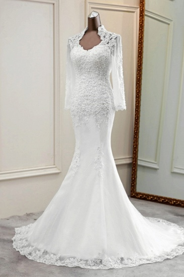 BMbridal Elegant Long Sleeves Lace Mermaid Wedding Dresses Appliques White Bridal Gowns with Beadings_5
