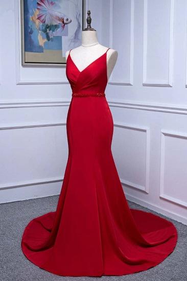 Elegant V-Neck Burgundy Prom Dresses Spaghetti Straps with Beadings Sash_4
