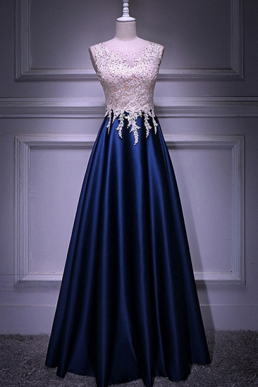 Elegant Jewel Dark Navy Beadings A-Line Prom Dresses Sleeveless Appliques Ruffle Party Dresses On Sale_1
