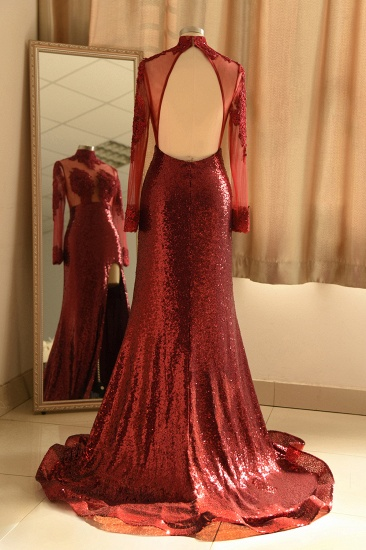 Sexy High-Neck Burgundy Sequined Slit Prom Dresses Long Sleeves Appliques Backless Formal Dress with Sheer Top_3