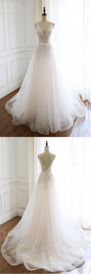 Gorgeous White Tulle Lace Long Wedding Dress Sleeveless Custom Size Bridal Gowns On Sale_5