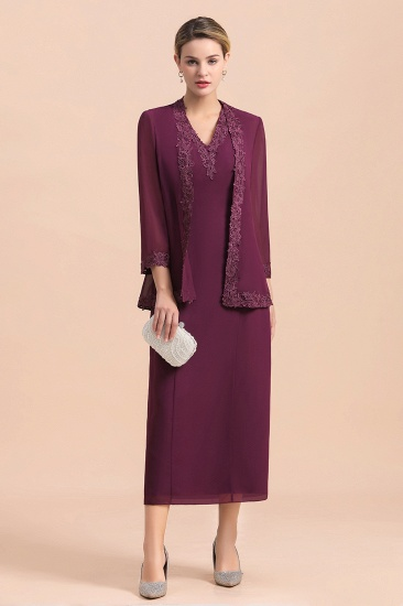 Elegant V-Neck SLeeveless Apppliques Grape Mother of Bride Dress with Wraps