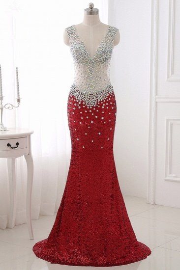 Sparkly Sequined V-Neck Burgundy Mermaid Prom Dresses with Rhinestone Top_1