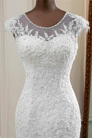 Elegant Jewel Sleeveless White Lace Mermaid Wedding Dresses with Rhinestone Appliques_6