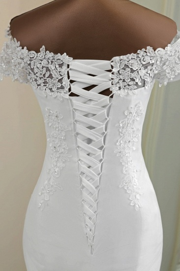 BMbridal Glamorous Sweetheart Lace Beading Wedding Dresses Short Sleeves Appliques Mermaid Bridal Gowns_8