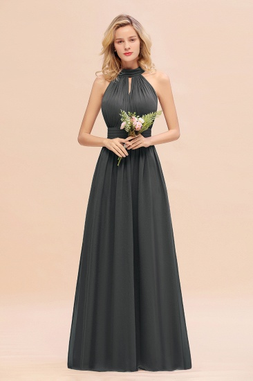 Glamorous High-Neck Halter Bridesmaid Affordable Dresses with Ruffle_46