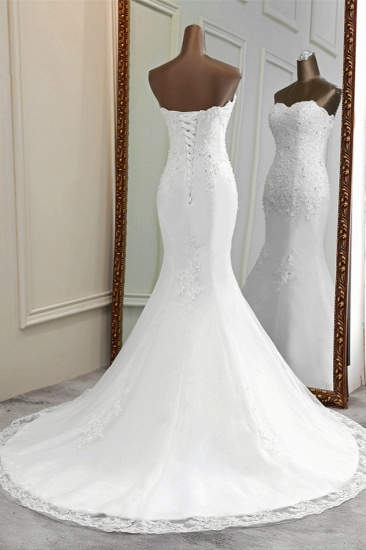 BMbridal Chic Strapless Lace Appliques White Mermaid Wedding Dresses with Beadings Online_3