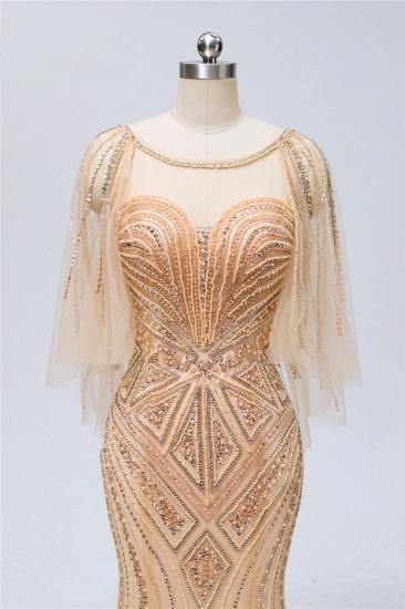 Elegant Tulle Beadings Gold Mermaid Prom Dresses Short Sleeves Rhinestones Evening Dresses Online_6
