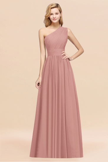 Stylish One-shoulder Sleeveless Long Junior Bridesmaid Dresses Affordable_6