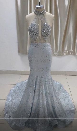 Luxurious Halter Rhinestones Prom Dress Mermaid Long Online_1