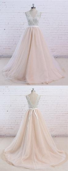 AffordableBlush Pink Tulle Wedding Dress Ivory Lace V-Neck Vintage Bridal Gowns On Sale_4
