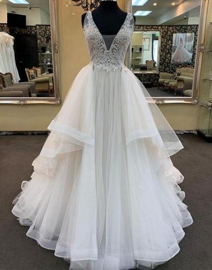 BMbridal Glamorous White Tulle Lace Ruffles White Wedding Dress Sleeveless Appliques Bridal Gowns On Sale_3