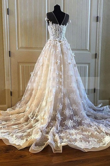 BMbridal Elegant Creamy Lace Sweetheart Long Wedding Dress A Line Appliques Bridal Gowns On Sale_4
