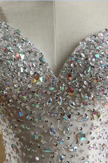 BMbridal Glamorous Straps V-Neck Tulle Beadings Prom Dresses Sleeveless Mermaid Crystals Formal Dresses Online_6