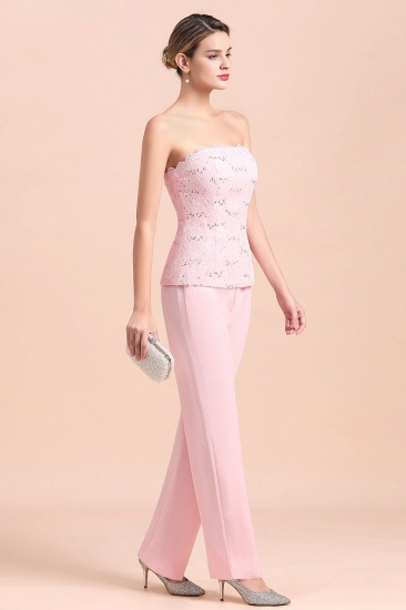 Elegant Strapless Appliques Mother of Bride Jumpsuit with Long Sleeves Wraps_10