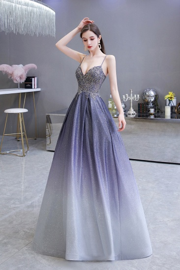 Elegant Spaghetti Straps Ombre Prom Dress Long With Appliques Beads