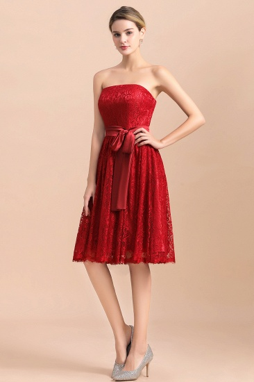 BMbridal Pretty Strapless Red Lace Bridesmaid Dresses Sleeveless Short Wedding Party Dress with Sash_4