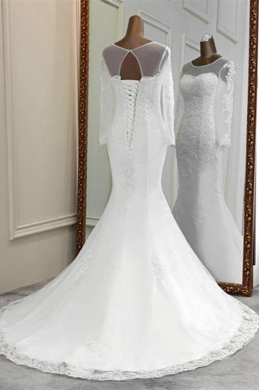 Elegant Jewel Long Sleeves White Mermaid Wedding Dresses with Rhinestone Applqiues_3