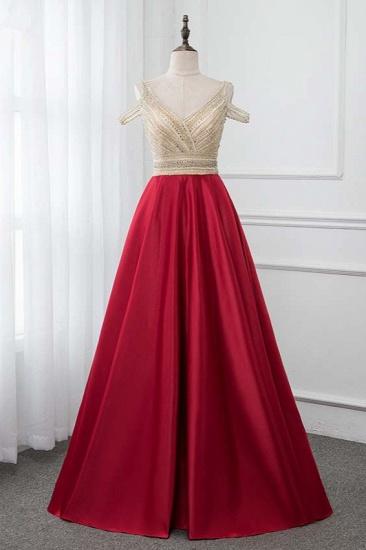 Glamorous V-Neck Rhinestone Burgundy Mermaid Prom Dresses with Cold Sleeves Online_1