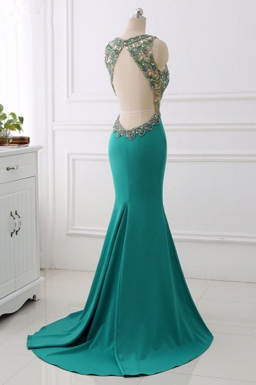 Sexy V-Neck Appliques Mermaid Prom Dresses Sleeveless with Crystals On Sale_5