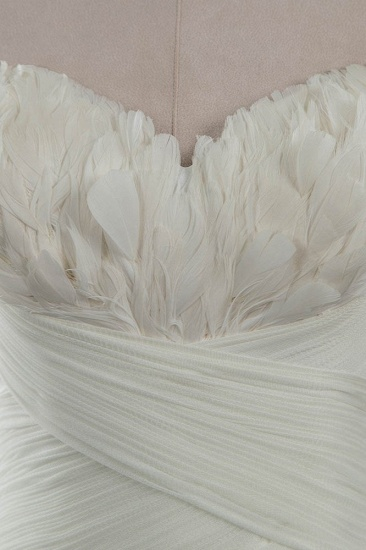 Chic Strapless Sweetheart Ivory Wedding Dresses Ruffles Tulle Sleeveless Bridal Gowns with Feather_5