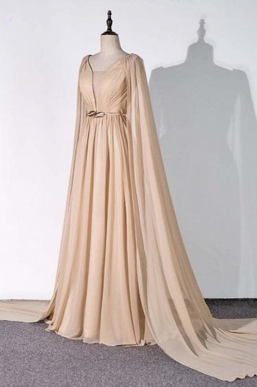 Chic Chiffon V-Neck Ruffle Prom Dresses with Beadings Sash On Sale_4