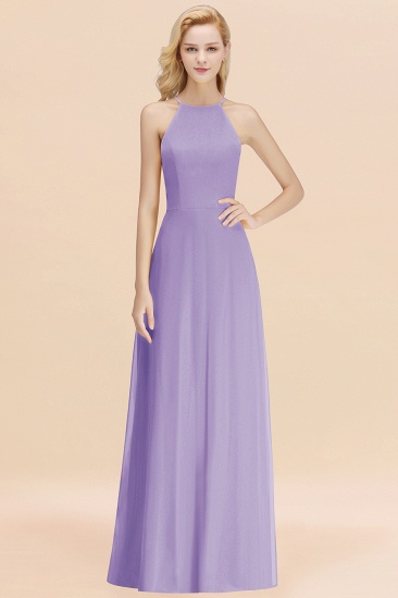 Modest High-Neck Yellow Chiffon Affordable Bridesmaid Dresses Online_21