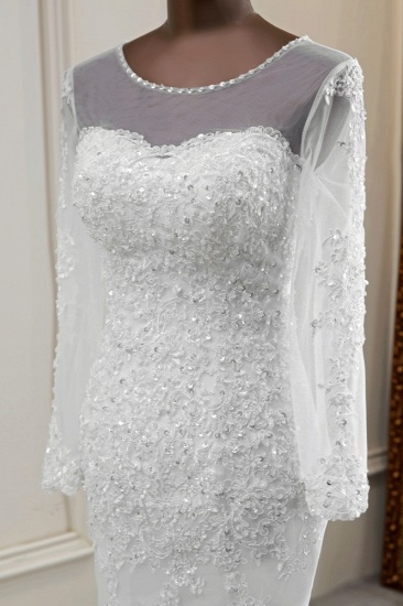 Elegant Jewel Long Sleeves White Mermaid Wedding Dresses with Rhinestone Applqiues_7