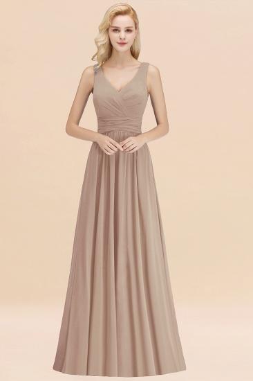 Modest Sleeveless V-Neck Long Chiffon Bridesmaid Dress Online with Ruffle_16