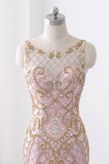 Gorgeous Jewel Pink Tulle Prom Dresses Mermaid Rhinestones Appliques Formal Dresses On Sale_5