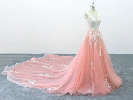 BMbridal Chic Peach Pink Tulle Lace Wedding Dress Cathedral Train Bridal Gowns On Sale_3