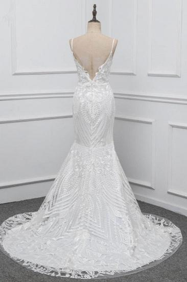 Chic Spaghetti Straps V-Neck White Wedding Dresses Appliques Sleeveless Bridal Gowns On Sale_3